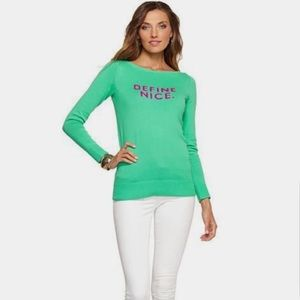 """Lilly Pulitzer """"Define Nice"""" Lime Green Sweater"""